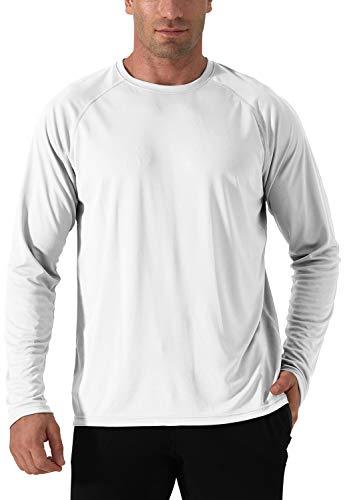 Herren UPF 50+ Shirt UV Sonnenschutz T-Shirt Langarm Camping Fishing Casual Shirts Rash Guards UV Schutz Funktionsshirt Sun Protection Outdoor Langarm Shirt Angeln Wandern Shirts Weiß White