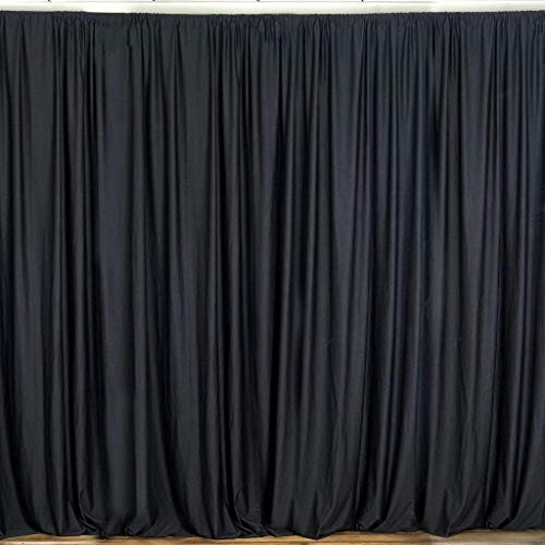 """Backdrop for Weddings Partys Stage Studio Photography Head Shots Window Curtain Drapes, 100% Polyester, Professional Grade, Designer Quality, Single Panel, Hand Made in USA (58"""" X 108"""", Black)"""