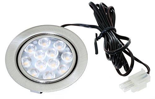2er Set LED Möbeleinbauspot Luisa 5000K 12Volt 3Watt inkl. Anschlusskabel mit Stecker Farbe: Edelstahl gebürstet.