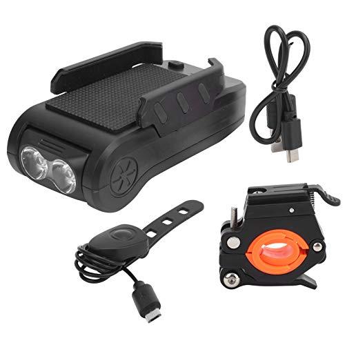 Demeras Fahrradlicht-Set Multifunktions-Fahrradscheinwerfer USB-Aufladung mit Horn-Telefonhalter Power Bank-Frontlampe(Schwarz)