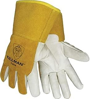John Tillman 1354L Tillman Large Yellow/White Cowhide Cut Resistant Gloves w/4