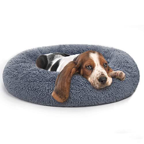 MIXJOY Orthopedic Dog Bed Comfortable Donut Cuddler Round Dog Bed Ultra Soft Washable Dog and Cat Cushion Bed (30'' x 30'') (Grey-Blue)