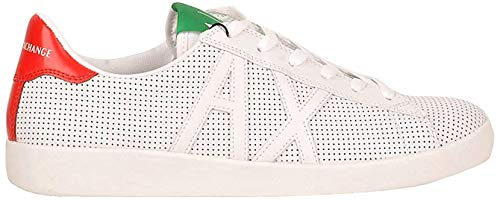Armani Exchange Herren AX Box Sole Sneakers Sneaker, Weiß (Op.White+Black Logo 00152), 43.5 EU
