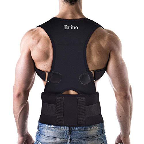 Brino Haltungskorrektor mit atmungsaktiver ultradünner elastischer Bandage für Rücken und Schultern für Unisex - Erwachsene Mittel (40 + 18) Schwarz