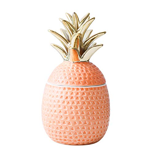"Jojuno 9"" Ceramic Pineapple Centerpiece Decor Ananas Ceramic Candy Cookie Storage Jars, Figurine for Birthday Party Modern Coffee Desk Table Room Kitchen Home Girls Baby Bedroom Decorative (Orange)"