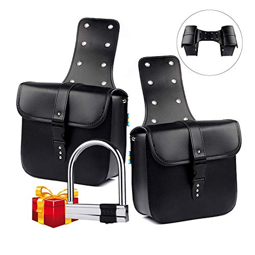 1 Pair Motorcycle Side Saddlebags PU Leather Waterproof Sanddlebag Motorcycle Side Luggage Black