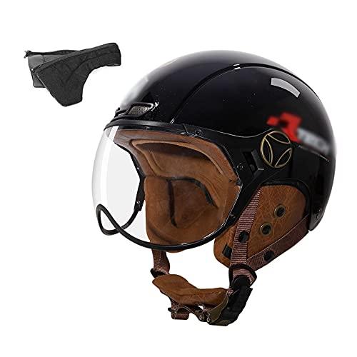 YAYT Medio Casco de Motocicleta Retro, Negro/Blanco/Bronce, con Gafas, Cara Abierta, certificación y aprobación Dot/ECE, Casco de Motocicleta Scooter Ligero para Hombres y Mujeres (54-62cm)