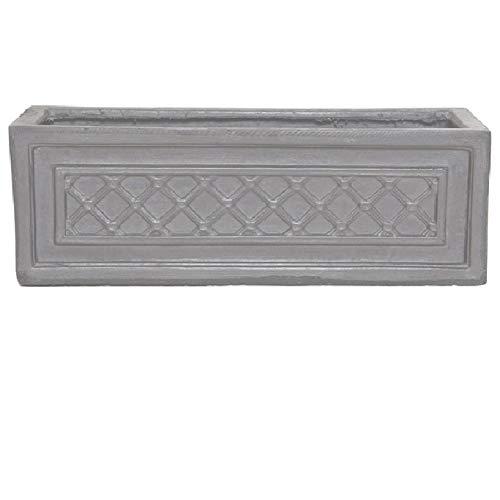 Round Wood 60cm Clayfibre Faux Lead Windsor Trough Planter/Flower Pot/Window Box/Tub/Container