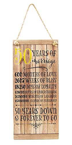 Happy Homewares Beautifully Designed 50th Anniversary Vintage MDF Hanging Plaque with Rope | 50 Years Down & Forever to Go | 12' x 5.5' | Thoughtful Gift Idea