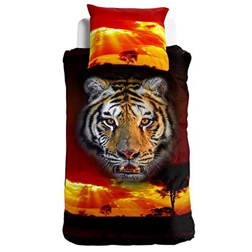 Tiger-Bettwäsche Mystic Rot Schwarz 2tlg 100% Baumwolle Renforcé 3D Tigerkopf im Sonnenuntergang Savanne 135 x 200, Größe:135 cm x 200 cm