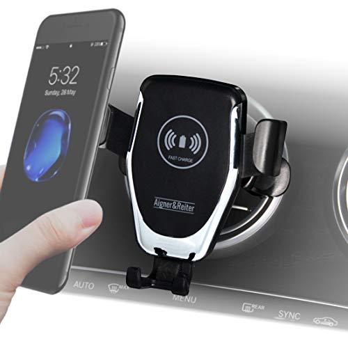 Handyhalterung Auto mit Ladefunktion für runde Lüftung, Wireless Car Charger, Handy Zubehör für Mercedes und KFZ mit rundem Lüftungsgitter, für alle iPhone, Samsung, Huawei, LG mit Qi Standard