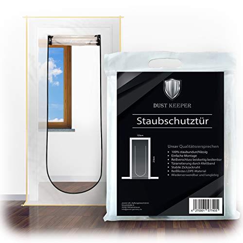 Dust Keeper Staubschutztür mit Reißverschluss - Das Qualitätsprodukt unter den Staubschutztüren bei jeder Renovierung, Bautür, 1,20 m x 2,10 m, Folie Tür, Baufolie transparent