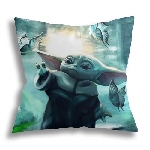 Baby Yoda Funda de Almohada Decorativa Cuadrada con Impresión a Doble Cara Funda de Cojín para Sofá Fundas de Almohada 45X45cm