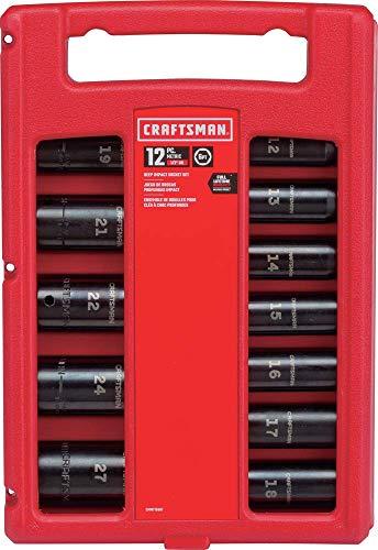 工艺人冲击插座套装,公制,1/2英寸,12件(CMMT15887)