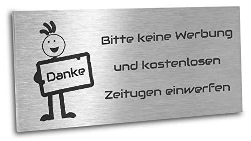 Jung Edelstahl Design Edelstahlschild Bitte keine Werbung und kostenlosen Zeitungen einwerfen 80X35 mm
