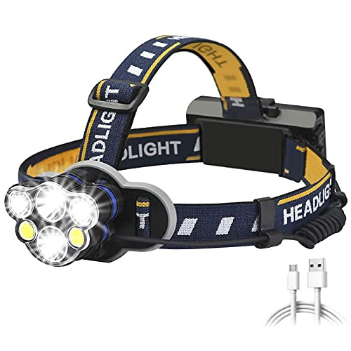 JIANGFBH Linterna Frontal Modos de iluminación LED Faros Impermeables USB Recargable Faro Faro Use Batería para Acampar, Pesca (Emitting Color : Option A)