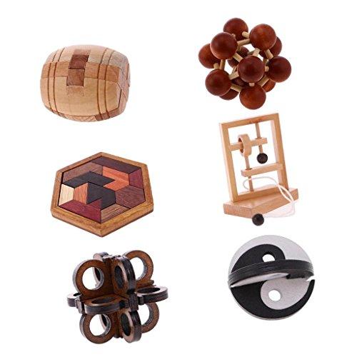 SM SunniMix Juego de Pensamiento de Juguete de Inteligencia China, Rompecabezas de Madera 3D, Paquete de 6