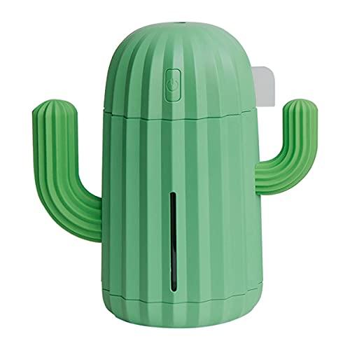 MTYQE Umidificatore, umidificatore d'Aria, umidificatore LED da 300 ml Alimentato Tramite USB, per Mini diffusore d'Aria dell'ufficio Domestico Design Adorabile di Cactus, Verde
