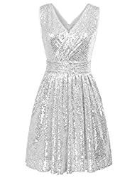 Sleeveless Short Sequin Silver Dress