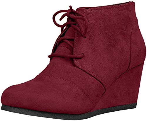 SODA Womens Rex Lace Up Ankle Bootie Shoes Burgundy 6.5