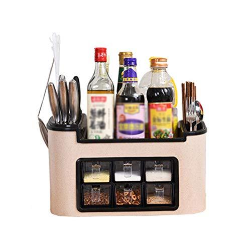Especiero Cocina, Organizador De Especias Con 6 Tarros De Especias Para Condimento,Colección De Soportes De Almacenamiento Estante De Cocina,Wheat yellow