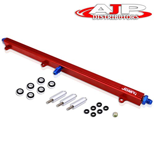 AJP Distributors JDM Sport Aluminum Turbo Fuel Injector Rail Red For Toyota Supra Soarer Crown 1JZE-GTE/1JZGTE/1JZ Engine Non-VVTi Performance Upgrade Replacement