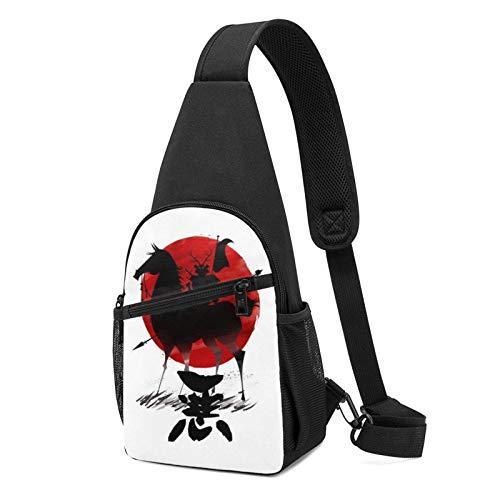 Samurai Jack Aku Shadow Warrior Sling Mochila Bandolera Negra Crossbody Daypack Casual Mochila de pecho Mochila para viajes, senderismo, ciclismo, camping para mujeres y hombres