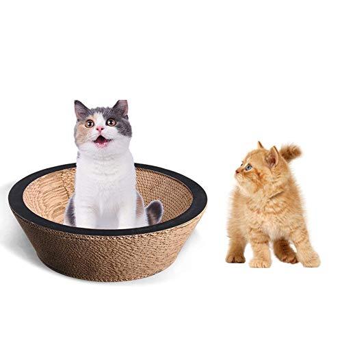 Funihut Kattenkrabber, gegolfd, voor katten, katten, karton, krabbord, mand, bed voor katten, grote afmetingen, papier, golfspeelgoed, strikken, pet scratcher board, 40 x 40 x 12,5 cm