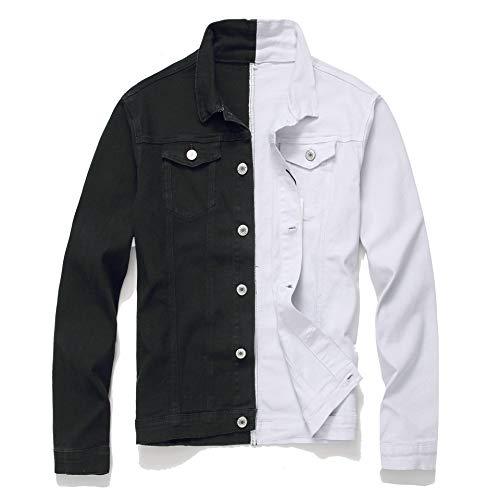 MOUTEN Men's Slim Two-Tone Fashion Coat Button Up Windbreaker Jeans Coat 1 S