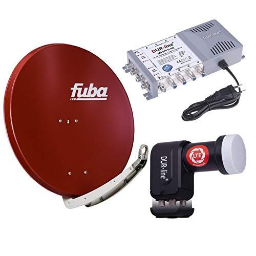 Digital Sat Anlage 8 Teilnehmer | Fuba DAA 850 R Sat-Schüssel 85cm Alu Ziegelrot + DUR-line +Ultra Quattro LNB + DUR-line MS 5/8 G-HQ Sat Multischalter 8 Teilnehmer (DVB-S2, HDTV, UHD/4K, 3D)