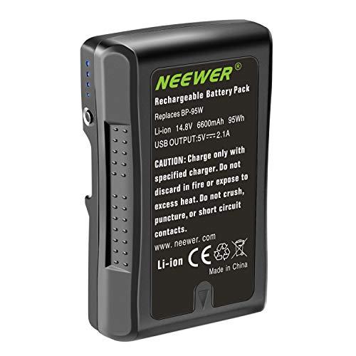Neewer V Montura/V Bloqueo Batería Recargable de Ion Litio 95Wh 14.8V 6600mAh para Videocámara de Transmisión Compatible con Sony HDCAM XDCAM Cámara de Cine Digital y Videocámara