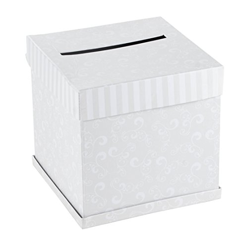 Wedding Card Box - Square Gift Card Box for Newlyweds, Wedding Reception Party Favor, White, 10 x 10 x 10 Inches