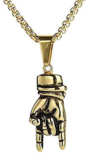 NC134 Rock Hand Gesture Colgante Collar Acero Inoxidable Punk Rock & amp Roll Collares de Cadena de Mano Joyería para Hombres Mujeres Cadena de 24 Cajas
