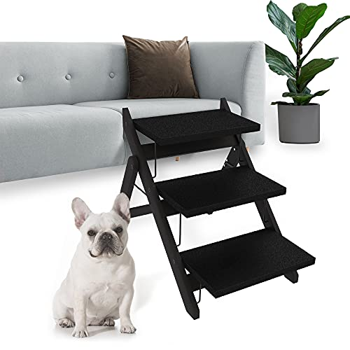 Heeyoo Foldable Dog Stairs, Non-Slip Wooden Dog Ramp, Portable 3 Step Pet Steps for Couch, High Beds and Cars, Suitable for Small to Large Dogs and Cats, Up to 110lb