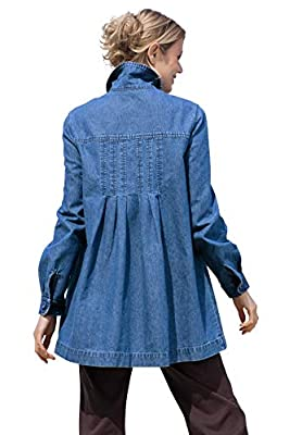 Woman Within Women's Plus Size Pleat-Back Denim Jacket - 4X, Medium Stonewash from Woman Within