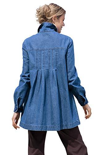 Woman Within Women's Plus Size Pleat-Back Denim Jacket - 3X, Medium Stonewash Blue
