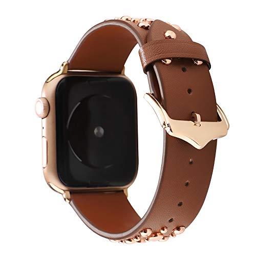 WAY-KE Pulsera de Repuesto Punk Compatible con Iwatch Series 5 4 3 2 1 para Apple Watch 38/40MM 42/44MM Correa de Cuero con Remache,Marrón,38MM