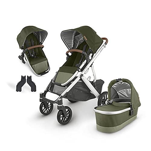 UPPAbaby Vista V2 Stroller - Hazel (Olive/Silver/Saddle Leather) + Upper Adapters + RumbleSeat V2-...