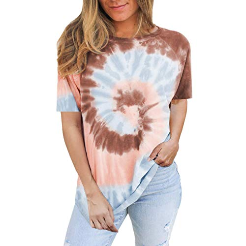 Gofodn Ladies Tops for Women T Shirts Casual Plus Size Pullover Summer Short Sleeve Tie-dye Printed Loose Blouse Khaki
