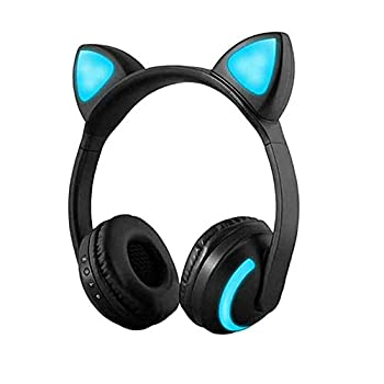 Treesine Wireless Bluetooth Cat Ear Headphones with Mic 7 Colors LED Light Flashing Glowing On-Ear Stereo Gaming Headset Compatible with Smartphones PC Tablet for Girls Kids