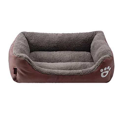 QUUY Cama para perros, cuadrada, impermeable, de algodón, cómoda, caseta para mascotas, sofá, resistente a la humedad, repele la suciedad, antiramponante y resistente a los arañazos, 58 × 45 × 14 cm