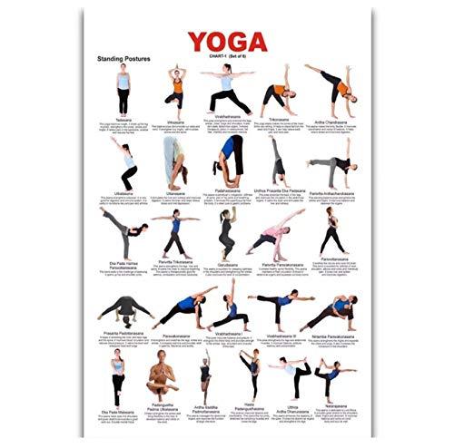 MRBIGWEI Yoga Action Ashtanga Fitness Culturismo Impresión en Lienzo Arte de la Pared Pintura para la Sala de Estar Decoración del hogar Regalo (50x75cm -20x30 IN Sin Marco