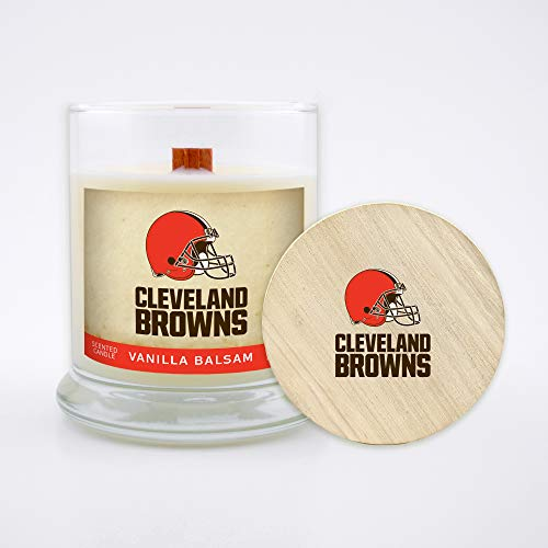 Worthy Promo NFL Cleveland Browns Gifts 8oz Scented Candle Soy Wax w/Wood Wick and Lid, Vanilla Balsam