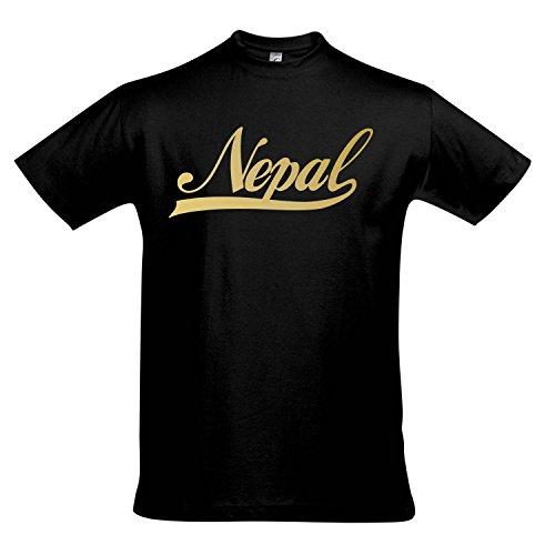 T-Shirt - Nepal Oldschool Nepal LÄNDERSHIRT EM/WM Fan Trikot S-XXL, Deep Black - Gold, XL