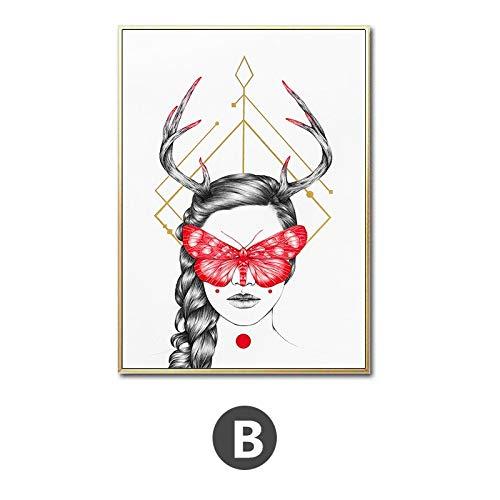 yaoxingfu Rahmenlose rote Schmetterling mädchen Gesicht öl ng kunstdrucke und Poster auf leinwand hd wandkunst Res mädchen Portrait für Wohnzimmer dekor 30x40 cm