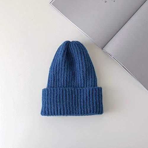 Nuevo Gorro Liso de Punto, cálido, Suave, de Moda, Sombreros de Invierno, Estilo Coreano Simple, Gorras Casuales para Mujer, Gorro Elegante para Todos los Partidos-Dark Blue
