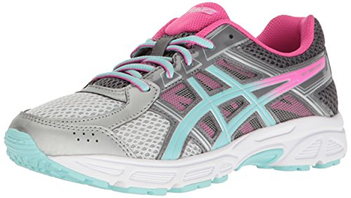 ASICS Girls' Gel-Contend 4 GS Running Shoe, Silver/Aqua Splash/Hot Pink, 3.5 M US Big Kid