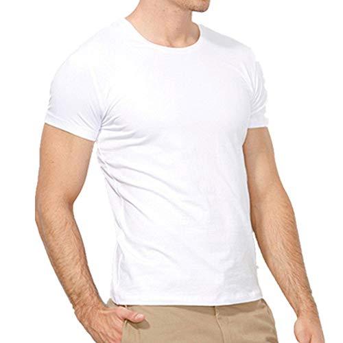 Camiseta de manga corta con cuello redondo para hombre, camiseta inferior de algodón