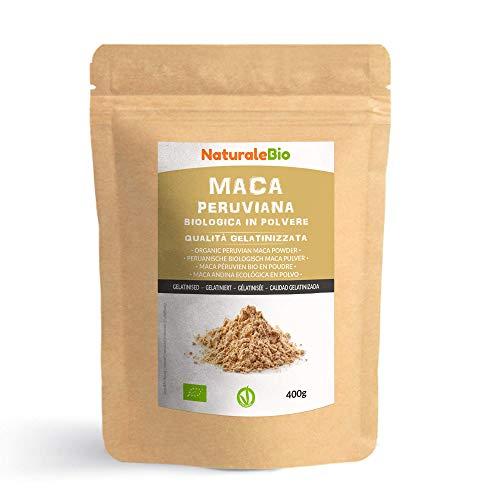 Maca Andina Ecológica en Polvo [ Gelatinizada ] 400g. Organic Maca Powder Gelatinized. 100% Peruana, Bio y Pura, viene de raíz de Maca Organica. NaturaleBio