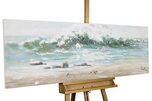 KunstLoft® Acryl Gemälde 'Vamos a la Playa' 150x50cm | original handgemalte Leinwand Bilder XXL | Meer Wasser Wellen Blau | Wandbild Acryl bild moderne Kunst einteilig mit Rahmen